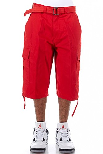 Mens Basic Belted Hip Hop Long Cargo Shorts P210AS (52, Red) by GENx