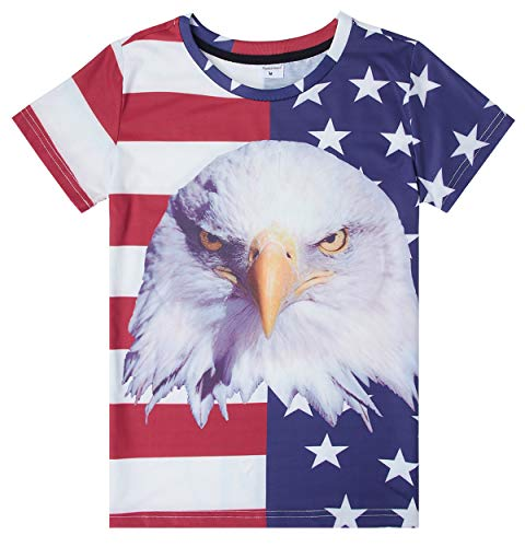 Kids Summer Independence Day Hot Short Sleeve T-Shirt USA Flag Stripe Star No Fade Pre-Shrunk Shirts Best Gift for Birthday 10Y 11Y 12Y(Hawk,Medium) ()