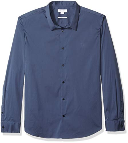 Calvin Klein Men's Stretch Cotton Button Up Shirt, Vintage Indigo, Large Calvin Klein Vintage Jeans