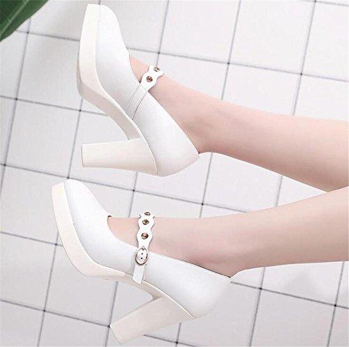 35 Travail Cheville Doux Taille XIE Pompe Courroie Chaussures Bloc à 42 Plate Forme Femmes Talon Cour Base Strass Cuir afgHq