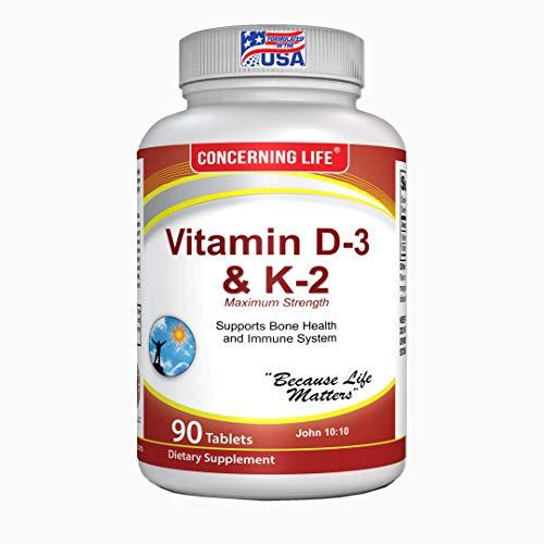 Vitamin D3 K2 (MK7) Supplements - Bone & Heart Health - Vitamin D & K2 Complex - Vitamin K2 with d3 Chewable Supplements
