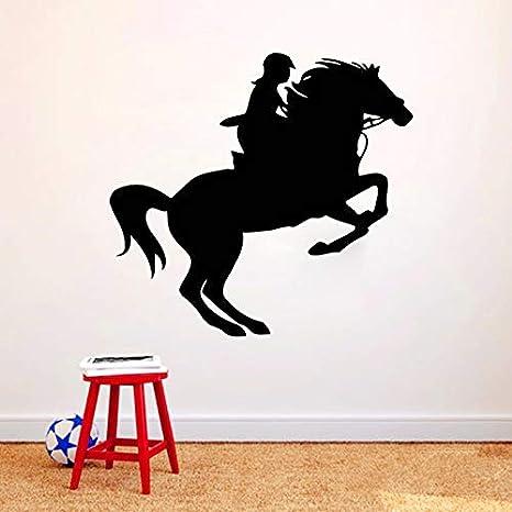yaonuli Mujer Caballero Caballo Etiqueta de la Pared Decoración del hogar Sala de Estar Dormitorio Decoración Pintura de la Pared Calcomanía 68X115cm