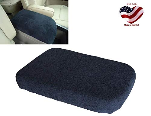Car Console Covers Plus Made in USA Fleece Center Armrest Console Cover fits Ford Edge Models 2015-2019 Black