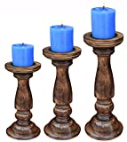 Wooden Candle Pillar holder stand set of 3-Antique Natural-Rounded turned Colums, Sustainable woods, Country style, Idle gift for Wedding, Party, Home, Spa, Reiki, Aromatherapy, LED/Votice Candle Gard