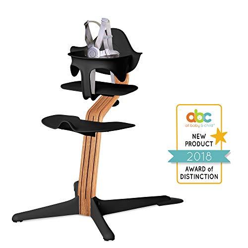 (Nomi High Chair, Black – Premium Natural Oak Wood, Modern Scandinavian Design with a Strong Wooden Stem, Baby Through Teenager and Beyond with Seamless Adjustability, Award Winning)
