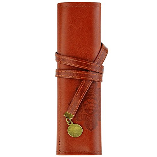 Miayon Twilight Retro Bandage Synthetic Leather Pen Bag Pencil Case Makeup Pouch,Vintage Style Rollup Pencil Case, Pencil Bag(Dark Brown)