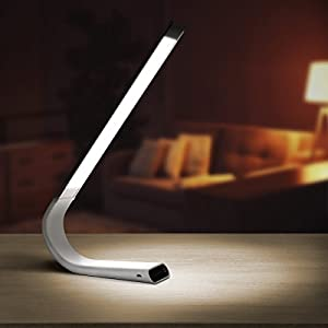 Luxe Cordless Eye Friendly LED Desk Lamp, USB Rechargeable, up To 40 Hours of Continuous Light, Touch Control, 6 Brightness Levels, 3 Light Modes, 360 Adjustable Modern Design, Portable (Silver)