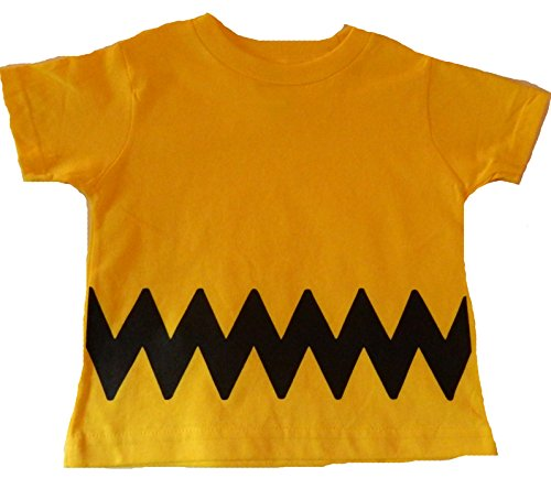 Custom Kingdom Boys/Girls Peanuts Charlie Brown T-Shirt (14/16 Large, Yellow)