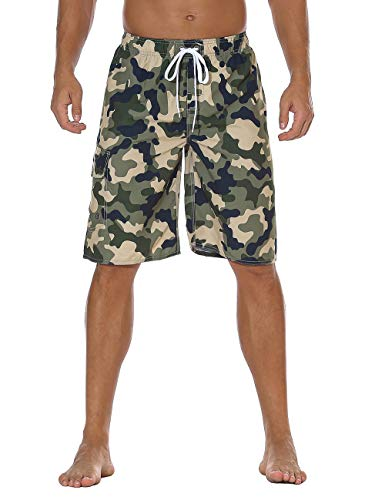 (Nonwe Men's Volley Swim Trunks Quick Dry Beach Vacation Camouflage Bathing Suits Drawsting Green 40)