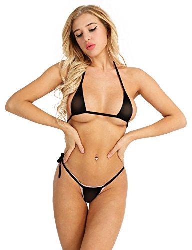 MSemis Womenâ€s Mesh Sheer Extreme Bikini Halterneck Top Tie Sides Micro Thong Sets Black One Size