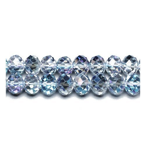 70+ Blue/Clear Czech Crystal Glass 6 x 8mm Faceted Rondelle Beads - (GC9592-3) - Charming Beads