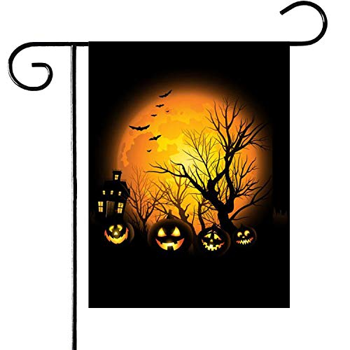 Easy Halloween Pumpkin Ideas (PINCHUANG Halloween Pumpkin Garden Flag, Double-Sided Yard Pumpkin Burlap Banner for Halloween Indoor & Outdoor Decoration(Not Include a Flag)
