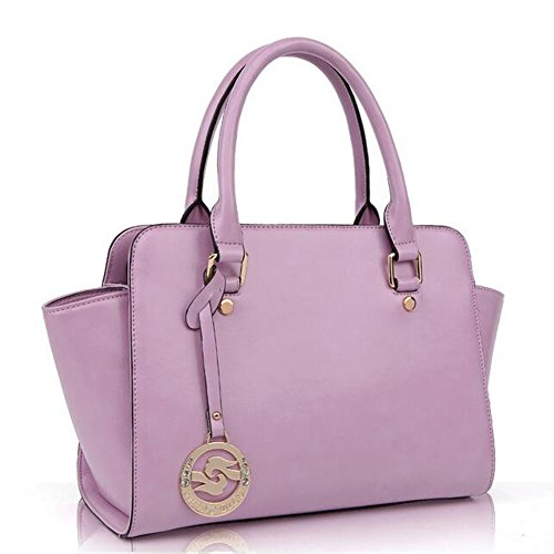 Caranda Women's Leather Shoulder Handbag Pink