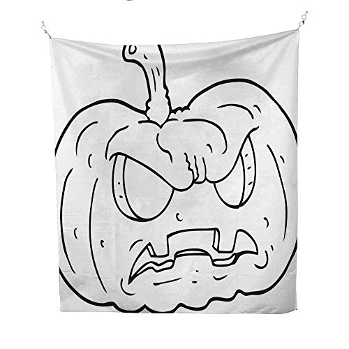 25 Home Decor Hippy Tapestries Black and White Cartoon Halloween pumpkin7 Urban Outfitters Tapestries 57W x 74L INCH ()