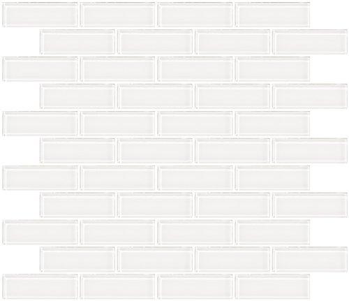 Susan Jablon Mosaics - 1x3 Inch Super White Glass Subway (White Glossy Glass)