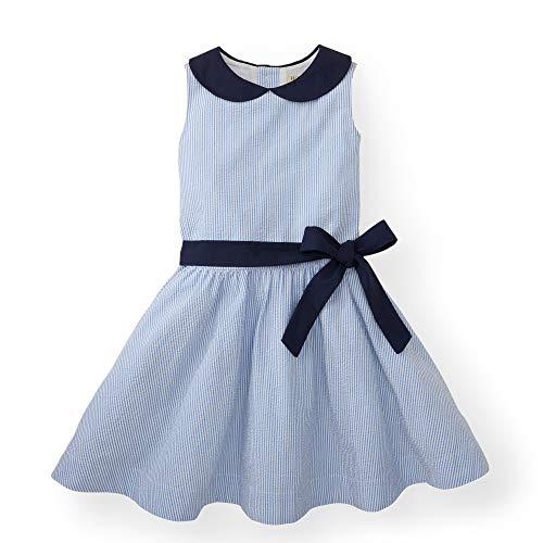 Hope & Henry Girls' Blue Peter Pan Collar Seersucker Dress