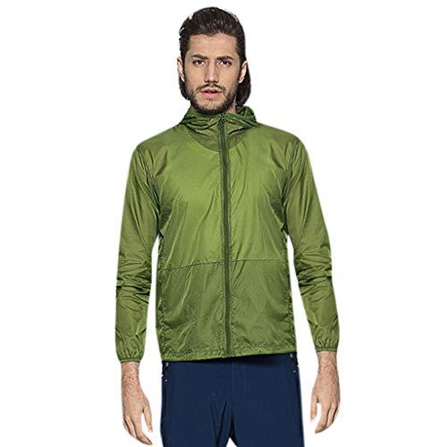 Pongfunsy Men's Cycling Jacket Vest Windproof Water-Resistant Coat Breathable Outdoor Sportswear Quick Dry Windbreaker Army Green