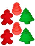 Ganz 6pc Christmas Silicone Cake Mold Set Snowman/Gingerbread Man/Christmas Tree