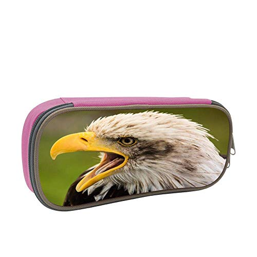- Howling a White-Headed Eagle Large Capacity Dirty and Multi-Layer Pencil Case Pink
