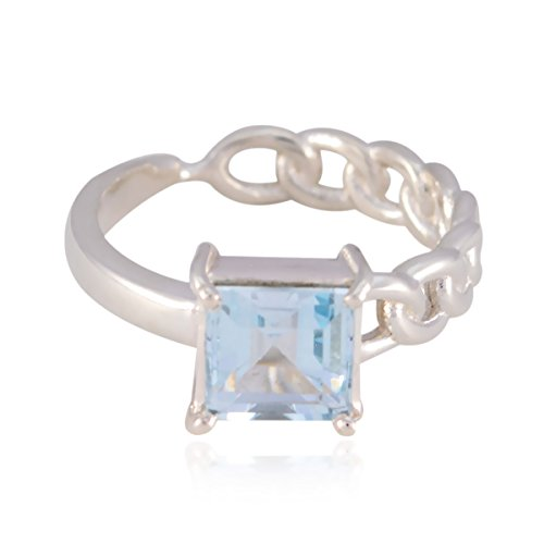 RGPL-Genuine Gems Square Faceted Blue Topaz Rings - 925 Sterling Silver Blue Blue Topaz Genuine Gems Ring - Ornaments Glitter Jewelry Highest Item Gift for Women raw Gemstone Ring ()