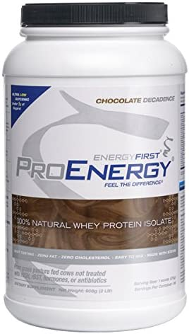 ProEnergy Chocolate Whey Protein Isolate Powder 100 Natural Grass Fed Non-GMO Undenatured Low Carb Lactose Free Meal Replacement, Pre Post Workout – 2 lb. Jar by EnergyFirst