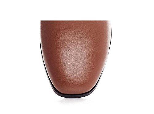 37 a tacco scamosciata pelle Stivaletto spillo in alla elastico donna pelle caviglia in vera BROWN 39 brown wq55Ya