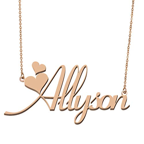 - Aoloshow Customized Custom Name Necklace Personalized - Custom Made Allyson Necklace Initial Monogrammed Gift for Womens Girls