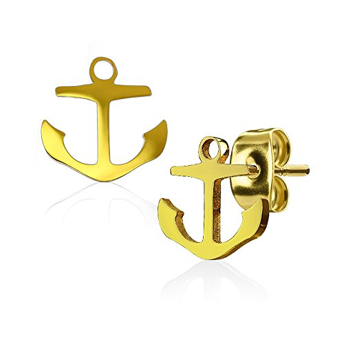 Stainless Gold Anchor Stud Earrings - 8