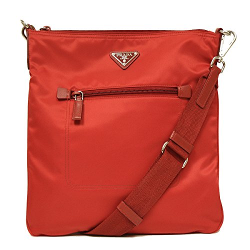 Prada Tessuto Saffian Red Nylon and Leather Crossbody Messenger Travel Bag (Prada Tessuto Messenger)