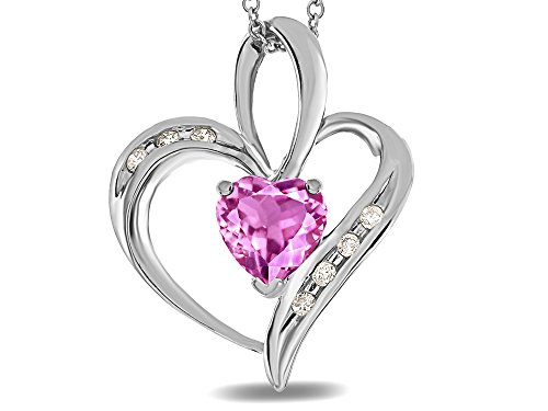 Star K Heart Shape 6mm Created Pink Sapphire Pendant Necklace 14 kt White Gold