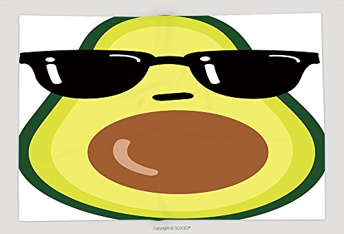 Supersoft Fleece Throw Blanket Illustration Cartoon Funny Avocado Icon With Black Sunglasses Isolated On White Background Vector - Ac Sunglasses Dc