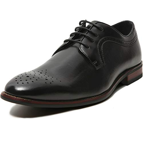Mens Classic Brogue Dress Shoes Leather Lined Oxfords (8 M US, -
