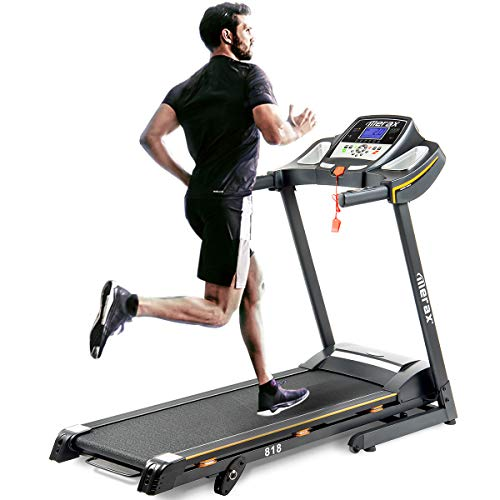 Merax 818 Easy Assembly Electric Folding Treadmill Motorized Running Machine with Wheels Adjustable Incline