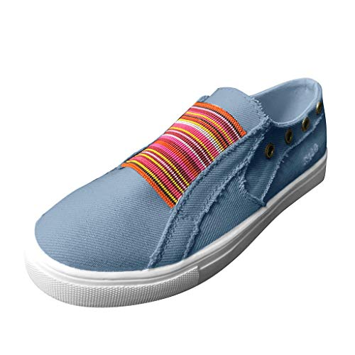 Answerl Women's Outdoor Sneakers Breathable Casual Sport Shoe Round Toe Slip On Flat Shoes Blue