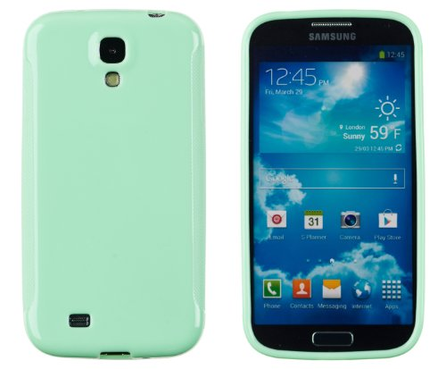 Premium Colorful Glossy Flexible TPU Gel Case for Samsung Galaxy S4 (S IV, i9500) - Includes DandyCase Keychain Screen Cleaner [Retail Packaging by DandyCase] (Mint Green)