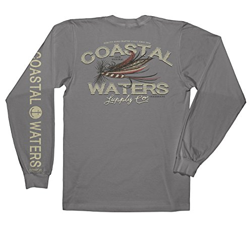 (Coastal Waters Fly Fishing Long Sleeve Pocket Tee, Mens Tshirt (Titanium, Small))