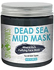 Dead Sea Mud Mask by Sky Organics I 250 g I For Face, Acne, Oily Skin & Blackheads - Best Facial Pore Minimizer, Reducer & Pores Cleanser Treatment - Natural Body Mud For Younger Looking Skin 8.8oz