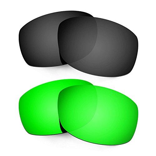 Hkuco Mens Replacement Lenses For Costa Zane Sunglasses Black/Emerald Green