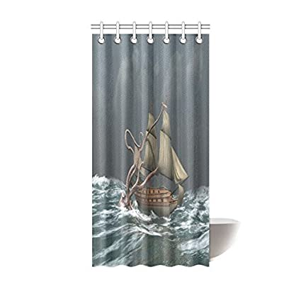 Tomalillin Monster Kraken Octopus Ship Shower Curtain Hooks Grey Fabric Giant Attacks An