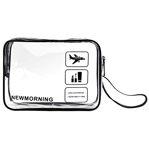 TSA Approved Toiletry Bag Clear Travel Toiletry Bag Accessories Quart Size 3-1-1with Zipper For Airline Cosmetic Bag Small luggage For liquids,Toothbrush,Razor.etc For Men/Women/Child.Black