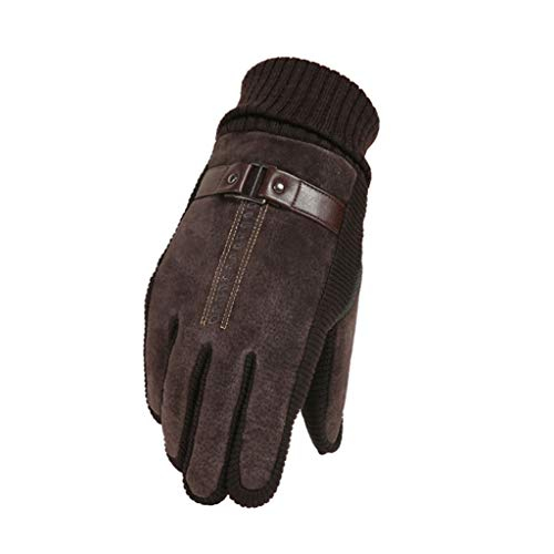 (NJ Leather Gloves Men's Outdoor Riding Cold Warm Thickening Plus Touch Screen Pigskin Gloves (Color : Hand Strap Brown))