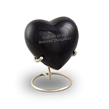 OneWorld Memorials Satori Onyx Heart Bronze Keepsake Urns – Extra Small – Holds Up to 5 Cubic Inches of Ashes – Onyx Black Cremation Urn for Ashes – Engraving Sold Separately