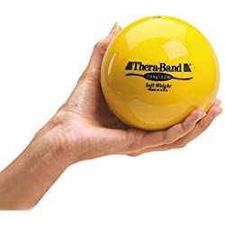 """TheraBand Soft Weight, Hand Held Ball Shaped Isotonic Weight for Strength Training & Rehab Exercises, Pilates, Yoga, & Toning Workouts, Home Exercise Equipment Balls, 4.5"""" Diameter, Yellow, 2.2 Pounds"""