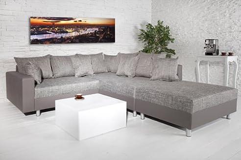 Design ecksofa  Design Ecksofa mit Hocker LOFT charcoal Strukturstoff Federkern OT ...