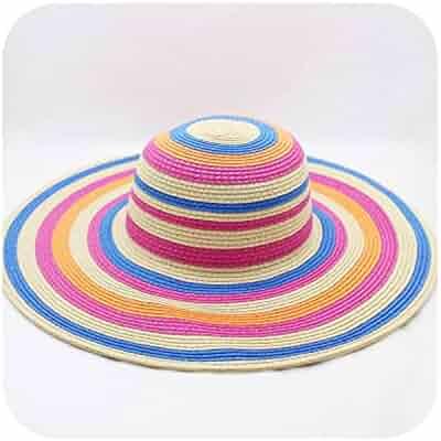 114cbf6d0644d7 Floppy Straw Hats Folding Beach Hats Sun Bonnet Ladies Holiday Stripe  Stitching Straw Hat