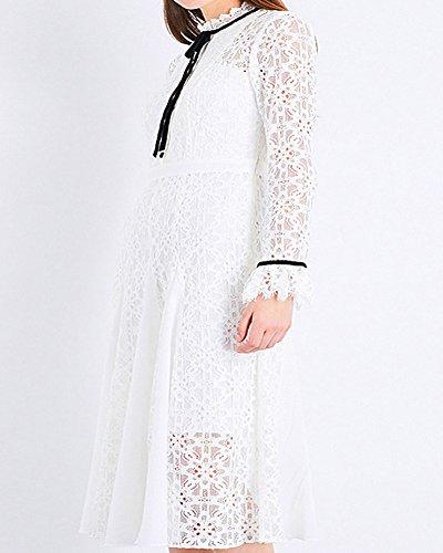 Flare Manches Ligne De Swing Robe Vintage Crochet Aox Formelle Soie Soire Une Mousseline Femmes en Blanc Floral Dentelle xqU1XYXw