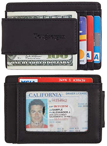 Toughergun Genuine Leather Magnetic Front Pocket Money Clip Wallet RFID Blocking (Crazy Horse Black)