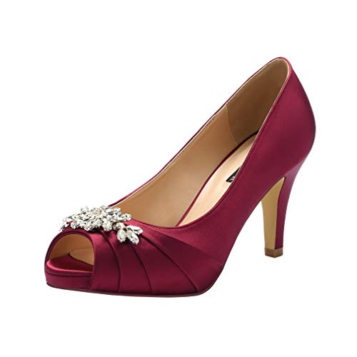 ERIJUNOR E0055 Peep Toe Mid Heels for Woman Rhinestones Satin Evening Prom Wedding Shoes Burgundy Size 8
