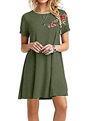 Se Miu Women S Short Sleeve Loose Casual Embroidered Dress Tunic Swing T Shirt Dress Floral Patch