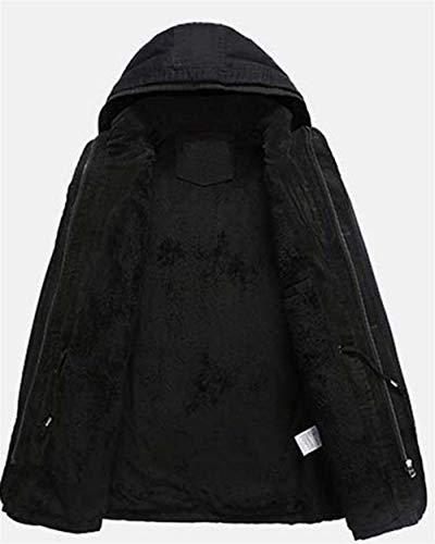 Schwarz Schwarz Cappotto con Invernale Trench Uomo Moda Moda da Cappotto Giovane Cappotto Cappotto Pesante Lunghe Lungo Invernale Cappotto Maniche A Esterno Cappuccio Vintage R1SwxRCqn
